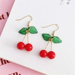 Cherries 🍒 earrings gold tone hooks